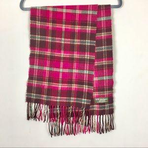 Cashmere scarf plaid pink unisex fringed